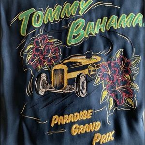 Tommy Bahama Paradise Grand Prix Blue Shirt Medium